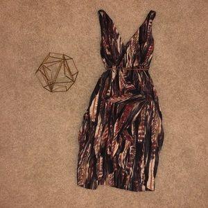 H&M Painted Art Print Midi Dress in Brown
